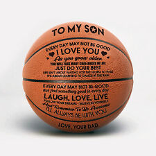 To My Son Love You From Dad Engraved Basketball Ball Gift Anniversary Birthday