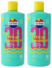 2 x LE TAN 600mL SUNSCREEN LETS GO COCONUTS SPF30+ 100% Brand New