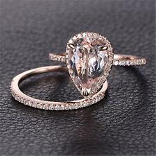18K Rose Gold Filled 2Pcs/Set Women White Topaz Ring Wedding Jewelry Size 6-10