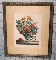 Vtg De Poilly Etching Print Framed Art Flower Arrangement ex CPR V.S Number 3