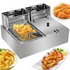 12L Electric Deep Fryer Dual Tank Stainless Steel 2 Fry Basket Commercial 5000W photo