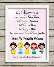 Disney Princess Mummy PRINT ONLY Mother's Day Gift Picture Personalised