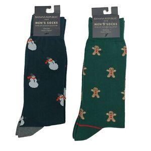 Banana Republic Socks Snowman and Gingerbread Man 2 Pair Men's Dress Socks