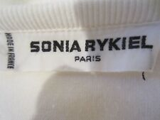 VINTAGE SONIA RYKIEL PARIS WHITE SOFT COTTON VELVET 80'S CREST EMBROIDERED TOP M