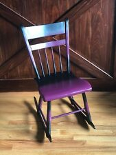 Kids Rocking Chair Restored, from early 1900's, Purple & Black custom paints