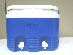 Vintage Igloo Barrel Of Fun Water Cooler Double Dispenser 12qt Blue And White