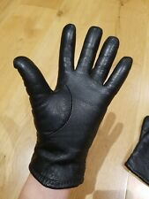 Black Real Leather Gloves Size Small