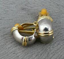 Pair of Vintage Yellow & White Metal Clip On Earrings