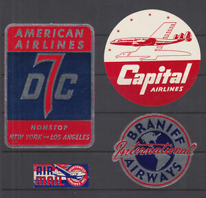 Airline Carrier Labels, 4 diff, CAPITOL, AMERICAN, BRANIFF & NORTHWEST airlines