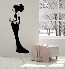 Vinyl Wall Decal Lady In Evening Dress Cocktail Sexy Back Party Stickers 2115ig