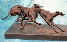 Large Running Lurcher Greyhound Dogs Bronze Signed by Sculptor Brian Andrew 3/12