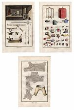 THREE Diderot 1763 Antique H/C Prints: PURSE WALLET PARASOL BREECHES WORKSHOP