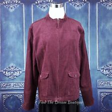 Erika Petite Jacket Blazer Womens PXL Purple Burgundy Corduroy Full Zip