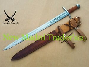 "38"" HIGH CARBON STEEL BROWN WRAP LEATHER HANDLE ULFBERHT SWORD WITH SHEATH"