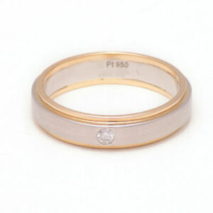 0.05 Carat Real Diamond Wedding Men's Band 18K Yellow Gold & Platinum Size R S T