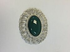 Oval Brooch Green Stone Vintage Mexico Sterling Silver 925
