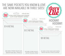 NEW Official Avery Elle Stamp and Die Clear Storage Pockets (Pack of 50)-3 SIZES