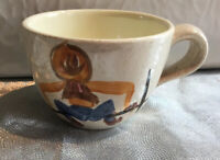 Red Wing Pottery Round Up Cowboy Hand Painted Coffee Cup Mid Century  USA EUC