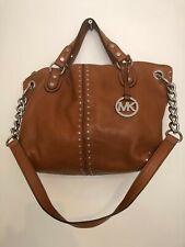 Michael Kors Jet Set Brown Leather Studded Chain Strap Bag
