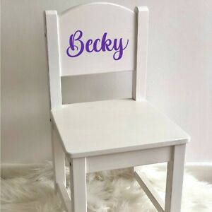 PERSONALISED GIRLS WOODEN CHAIR, Toddler Kids Modern White Chair Keepsake Gift