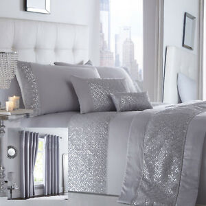 Shimmer Bedding Range Silver Choice of Duvet Sets Curtains Cushions & Bed Runner