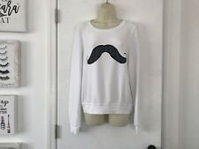 NWT Wildfox White Mustache Sweater Sweatshirt Small S BBJ Baggy Beach Jumper