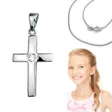 Kinder Kommunion Konfirmation Baby Taufe Stein Kreuz Anhänger Kette Silber 925