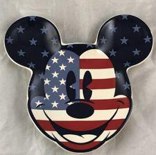 Disney Parks Mickey Mouse Head USA Ceramic Ash Tray Tea Coffee Plate Americana