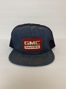 vtg GMC Trucks Trucker Hat Cap Denim Mesh Snapback
