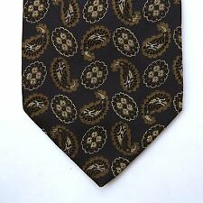 Gianfranco Ferre Exclusive Silk Tie Paisley Gold Shiny Black Made in ITaly 80s