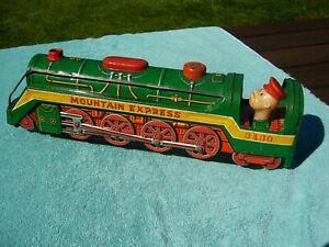 Modern Toys MOUNTAIN EXPRESS 3430 Battery Tin Litho Green Train Locomotive Japan