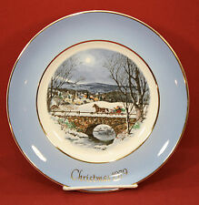 "Vintage 1979 Avon Christmas Plate ""Dashing Through The Snow"" With Box Wedgwood"