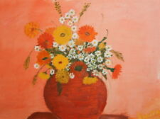 STILL LIFE WILD FLOWERS OIL PAINTING SIGNED