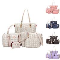 6PCS/Set Women's PU Leather Messenger Shoulder Bag Purse Tote Handbag Hobo Bags