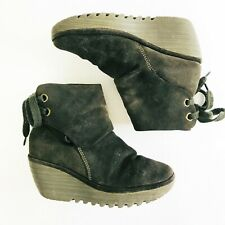 Fly London Yama Mousse Green Suede Leather Platform Wedge Ankle Boot 37 6.5-7