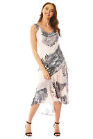 Floral Cowl Neck Chiffon Midi Occasion Summer Dress Ladies Women Roman Originals