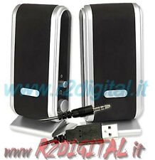 CASSE NOTEBOOK ALIMENTAZIONE USB ALTOPARLANTI COMPUTER PC AUDIO 2.0 MP3 MP4 IPOD