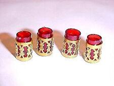 Dollhouse Ruby Red Filigree Tumbler Glasses Set 1:12 Miniatures for Doll House