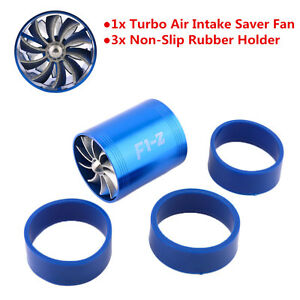 Blue Air Intake Turbonator Dual Fan Turbine Turbo Supercharger Gas Fuel Saver
