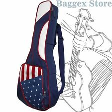 "26"" Tenor American Patriotic US Flag Ukulele Gig Bag United States Backpack"