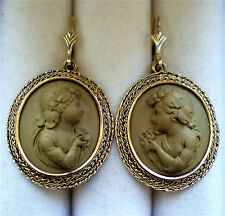 Antique Victorian LARGE 14K Yellow Gold Carved Lava Cameo EARRINGS 14kt 9.2 g.