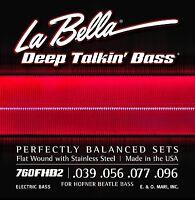 La Bella Bass Strings Deep Talkin' Bass Beatle Hoftner Bass Flat Wound Light