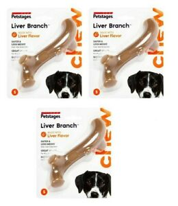 Petstages LIVER BRANCH - SET OF (3) SMALL Safe Durable Strong Dog Chew Toys