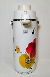 "Vintage Air Pot Zojirushi ""Tundra"" Vacuum Bottle 2.23 Litre Red & Yellow Flowers"
