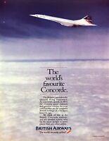 1985 Concorde Supersonic Jet Airliner photo British Airways vintage print ad