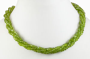 Natural 3 Strands Fine Quality Peridot Gemstone Twisted Beads String Necklace