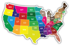 Colorful USA Map States Car Bumper Sticker Decal ''SIZES''