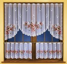 SET OF KITCHEN NET CURTAIN - FLORAL DESIGN RED POPPY