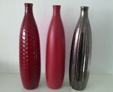 3 Ceramic Bud Bottle Vases,red/metalic Modern Decorative Flower Art Table Decor