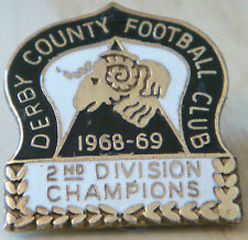 DERBY COUNTY 1968-69 2nd DIVISION CHAMPIONS Badge Maker REEVES B'ham 23mm x 25mm
